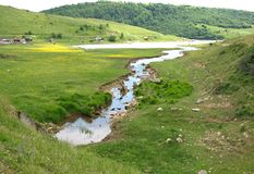 River and lake of Uvac at Pester Plateau in Serbia Royalty Free Stock Image