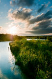 River and land with grass scene Royalty Free Stock Photography