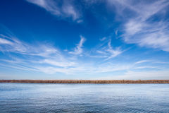 River landscape. Danube river shot on clear sunny day stock images