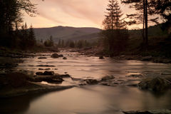 River landscape. Beautiful river landscape during the sunset. Horizontal Royalty Free Stock Photos