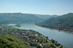 River landscape. Bend of Danube in Hungary from castle(Visegrad stock images