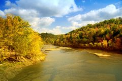 River landscape. Scenic view of the Cumberland River in fall in southeastern Kentucky Royalty Free Stock Image