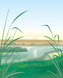 River Landscape. Hand vector image. Detailed image Stock Photography