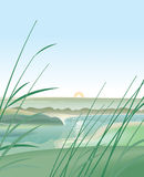 River Landscape. Hand vector image. Illustrations in soft colors. Simplified specification Royalty Free Stock Image