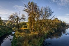 River landscape in autumn on  sunny morning Royalty Free Stock Images