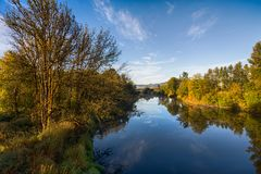 River landscape in autumn on  sunny morning Stock Photo