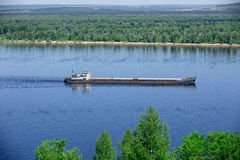 River landscape. A barge on the Volga River Stock Photos