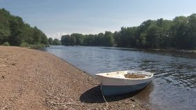 River landscape with boat stock footage
