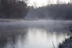 River landscape in the early morning with mystery fog. At the Amsterdamse Waterleidingduinen Royalty Free Stock Photo