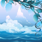 River landscape. Illustration with river landscape and mountains in the early foggy morning vector illustration