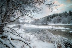 River Landscape In Snowy Forest Royalty Free Stock Photo