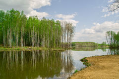 River landscape in the Kaluga region of Russia. Stock Photos