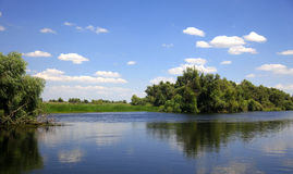 River landscape with large horizon on a summer day. View of a river delta, with clouds and trees mirroring in the water on a summer sunny day royalty free stock photo