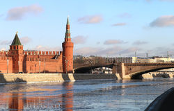 River landscape with the Moscow Kremlin towers. River landscape with Kremlin towers in Moscow in winter stock photos
