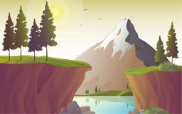 River landscape with mountain and cliff, vector illustration. Lake and mountain, natural landscape with river and cliff. Beautiful nature scenic vector royalty free illustration