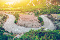 River landscape and mountains in Nepal Stock Image