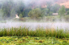 In a river landscape with nature morning with fog royalty free stock images
