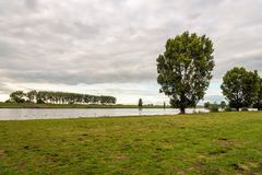 River landscape in the Netherlands. Atmospheric landscape with the Dutch river Bergsche Maas near the village Sprang-Capelle. It is at the end of a beautiful stock image