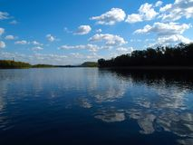 River landscape with reflect. Countryside river landscape with blue sky and white clouds reflection in the water Stock Image