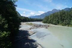 River Landscape. A slow river in a perfect Landscape Stock Images