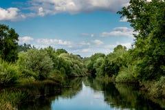 River Landscape. A small river landscape in the middle of Alentejo (Portugal stock image