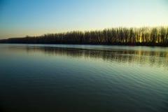 River landscape. On spring sunset Stock Photos