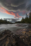 River landscape streaming down with heavy current at sunset. Staying in the kvikkjokk fjallstation the river is close. Its a pleasure taking photo's of the river royalty free stock photos