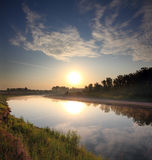 River landscape with sunrise Royalty Free Stock Image