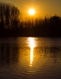 River landscape. Sunset on a lake with trees silhouette, vibrant colors Royalty Free Stock Photography