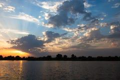 River landscape at sunset Stock Photo