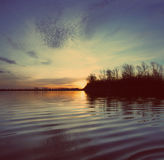 River landscape with sunset - vintage retro style Royalty Free Stock Image