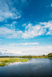 River Landscape Under Blue Sky. Summer. Sunny Day Stock Images