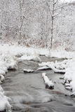 River Landscape in Winter. Peaceful river surrounded surrounded by a snow covered landscape Stock Photos
