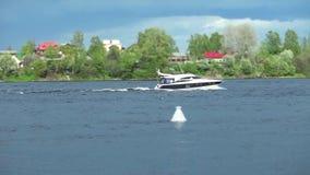 River landscape with yacht. Tilt film stock video footage