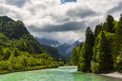 River Lech. The Lech is a river in Austria and Germany. It is a right tributary of the Danube 264 kilometres 164 mi in length with a drainage basin of 6,600 Royalty Free Stock Photo