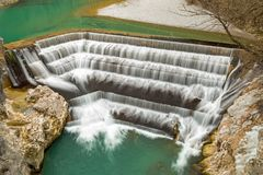 River Lech waterfall. In Fuessen, Bavaria, Germany Stock Photos