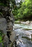 River Ledge. Ledge from in the River. Way's Mills, in the Eastern Townships, Quebec, Canada Stock Images