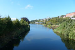 River Lee Cork city Ireland. View from the bridge Fitzgerald`s Park Royalty Free Stock Image