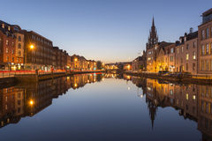River Lee in Cork city at twilight Stock Photos
