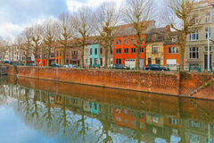 River Leie and colored houses in Ghent, Belgium Royalty Free Stock Images