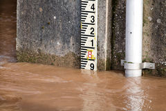 River Level Marker Gauge For Measurement. High River Levels royalty free stock images