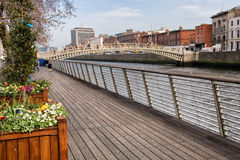 River Liffey Boardwalk in Dublin Stock Image