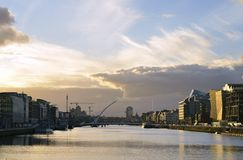 The river liffey,at the center of Dublin city,Ireland. stock photography