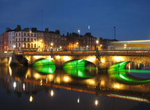 River Liffey Dublin. River Liffey and the Grattan Bridge By Night, Dublin Stock Images