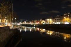 River Liffey Dublin. Night view over river Liffey Dublin stock photo