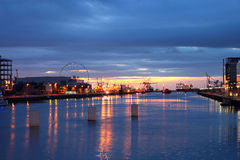 River Liffey At Sunrise. Sunrise on the river Liffey at North Wall Quay Royalty Free Stock Photo