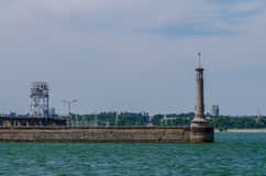 River lighthouse. On the gateway through the cascade of hydroelectric power Royalty Free Stock Image