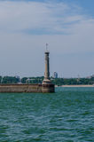 River lighthouse. On the gateway through the cascade of hydroelectric power Royalty Free Stock Photos
