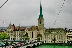 The river Limmat and the church Fraumunster Stock Images
