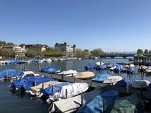 River Limmat after the lake Zurich in the city of Zurich stock photos